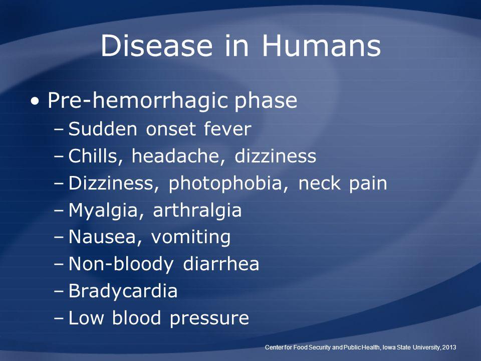 Disease in Humans Pre-hemorrhagic phase Sudden onset fever