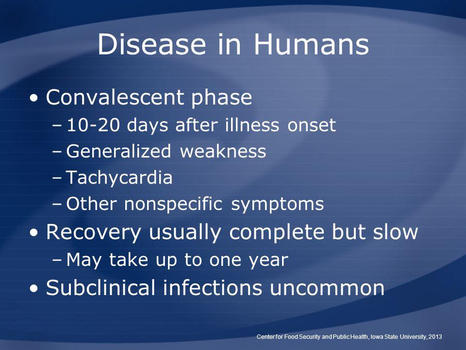 Disease in Humans Convalescent phase