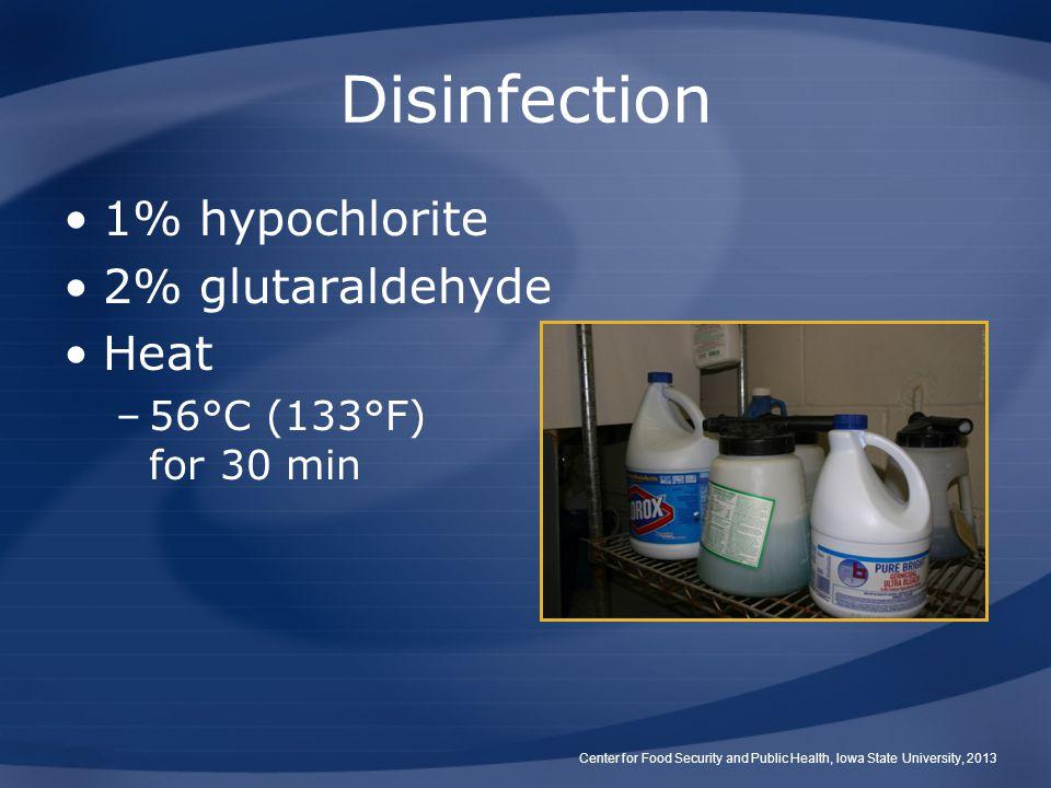 Disinfection 1% hypochlorite 2% glutaraldehyde Heat