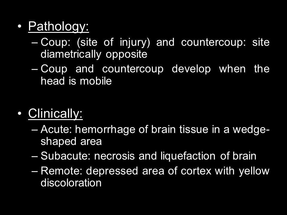 Pathology: Clinically: