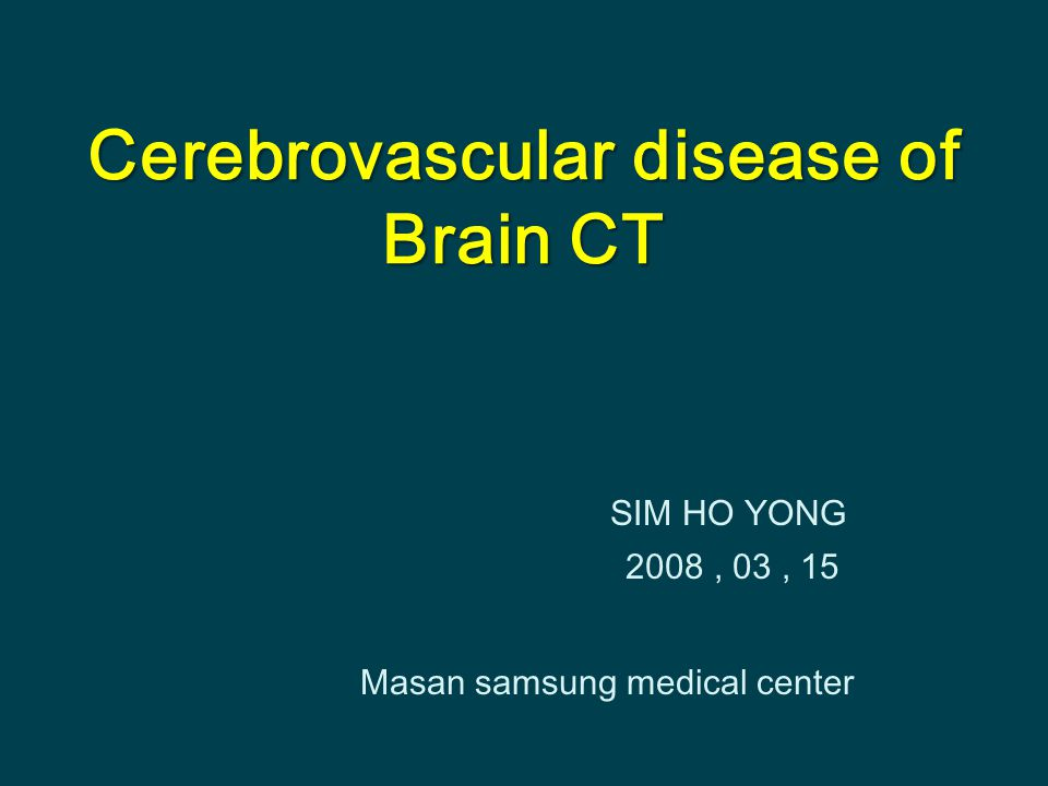 Cerebrovascular disease of Brain CT