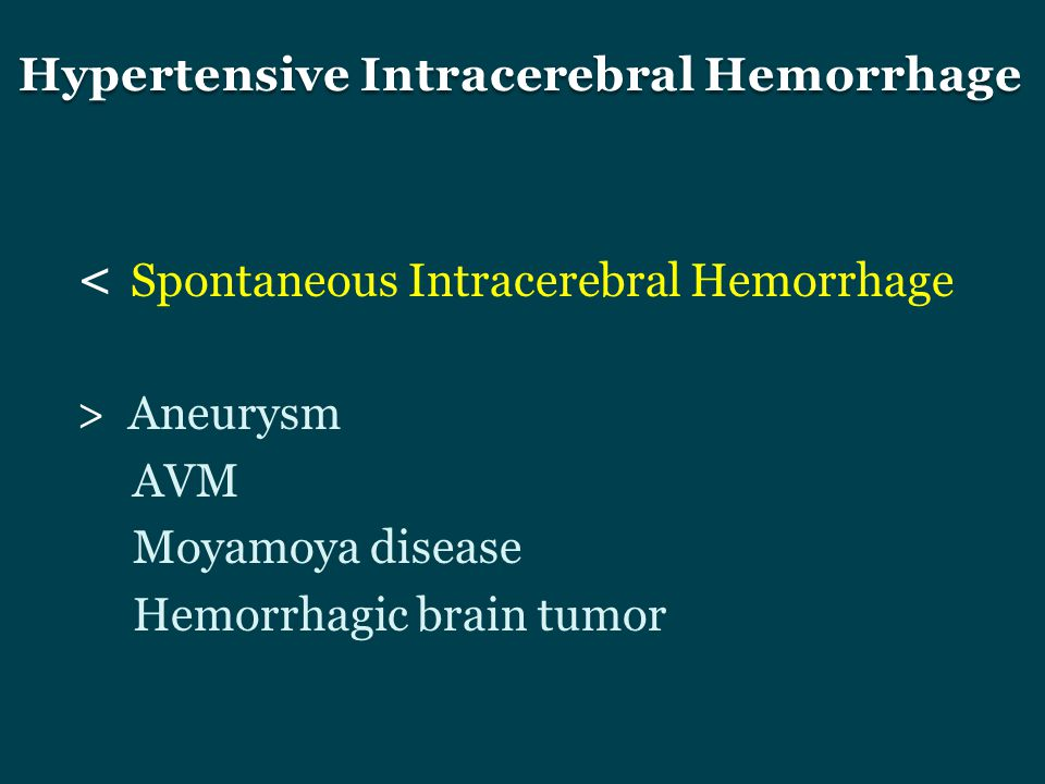 Hypertensive Intracerebral Hemorrhage