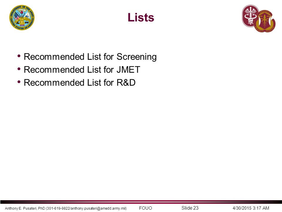 Lists Recommended List for Screening Recommended List for JMET
