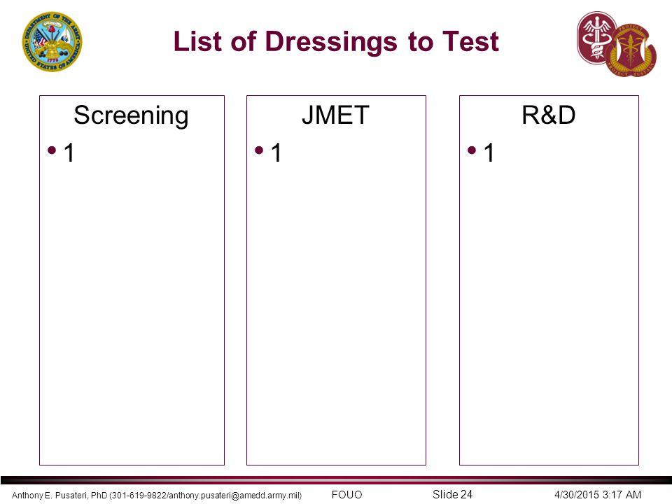 List of Dressings to Test