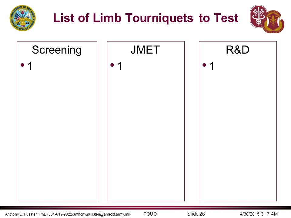 List of Limb Tourniquets to Test