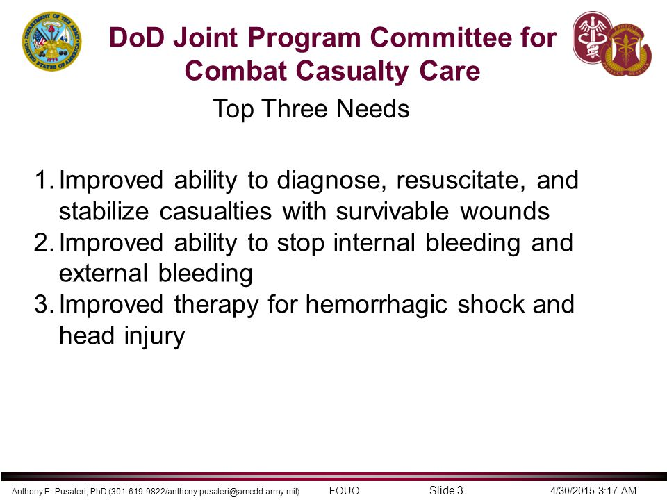DoD Joint Program Committee for Combat Casualty Care
