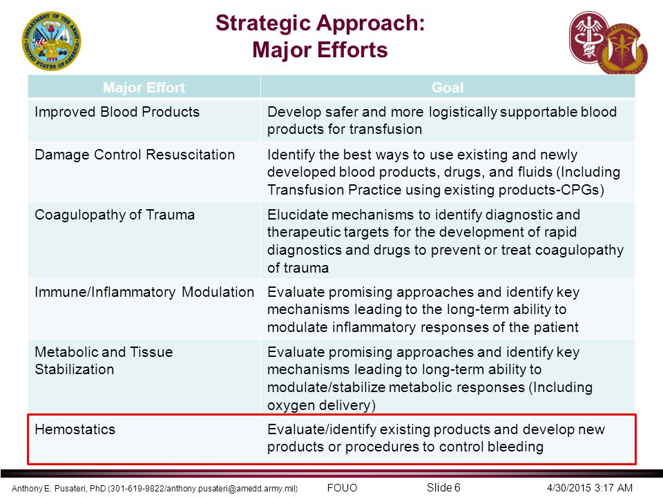 Strategic Approach: Major Efforts