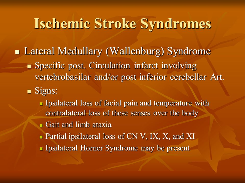 Ischemic Stroke Syndromes