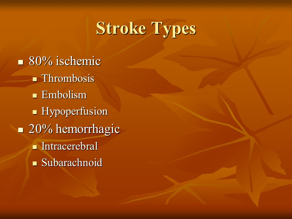 Stroke Types 80% ischemic 20% hemorrhagic Thrombosis Embolism