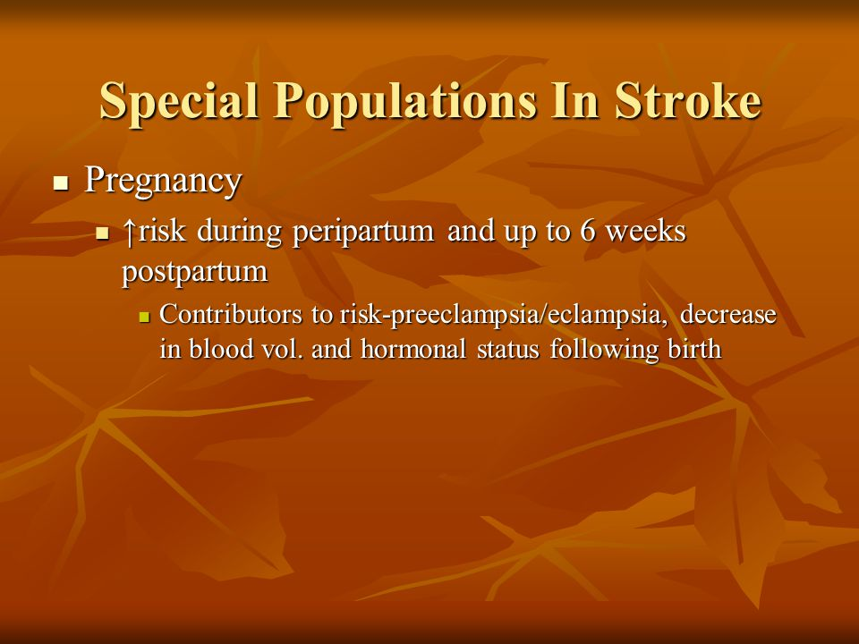 Special Populations In Stroke