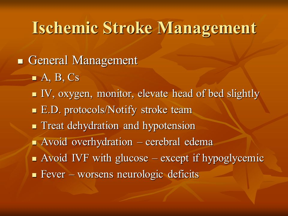 Ischemic Stroke Management