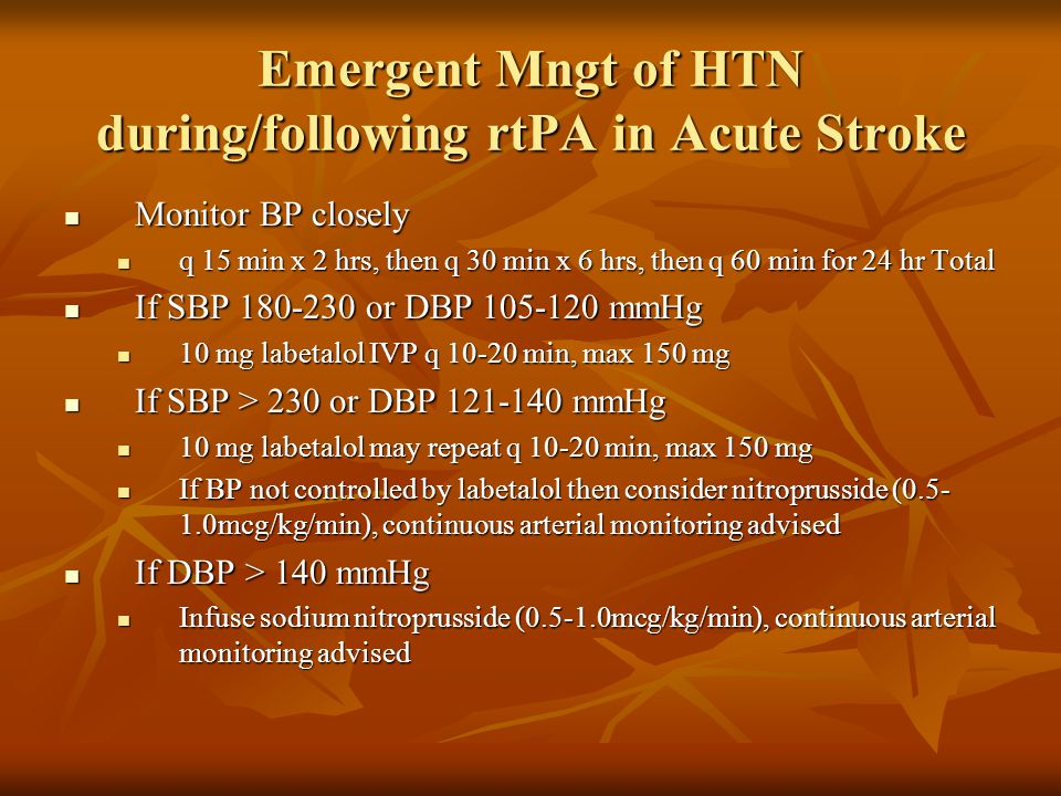 Emergent Mngt of HTN during/following rtPA in Acute Stroke