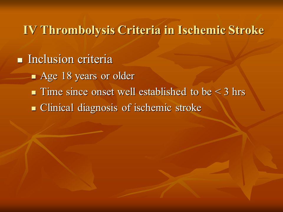 IV Thrombolysis Criteria in Ischemic Stroke