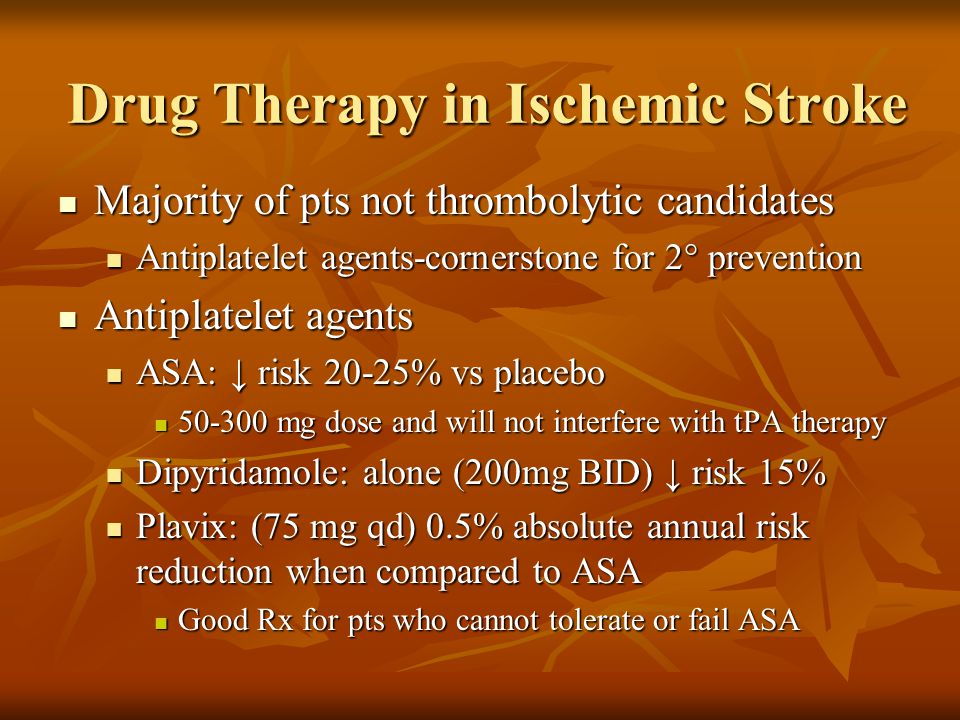 Drug Therapy in Ischemic Stroke