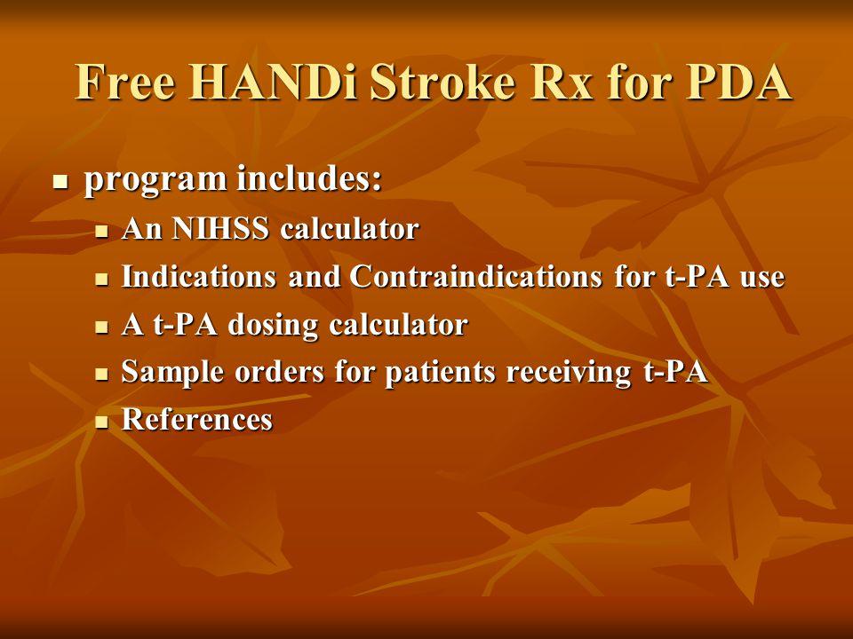 Free HANDi Stroke Rx for PDA