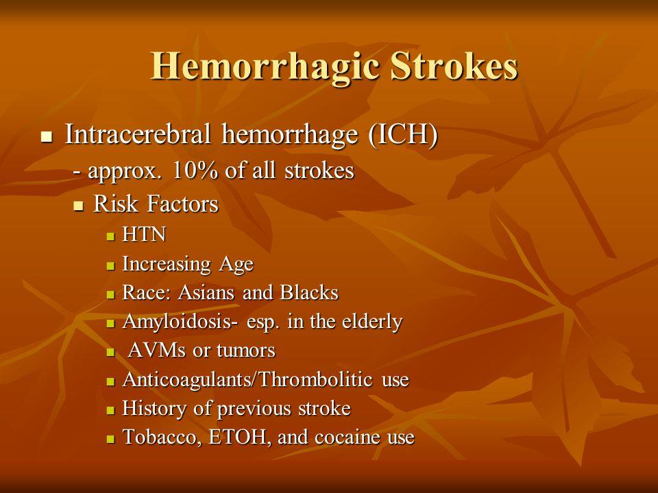 Hemorrhagic Strokes Intracerebral hemorrhage (ICH)