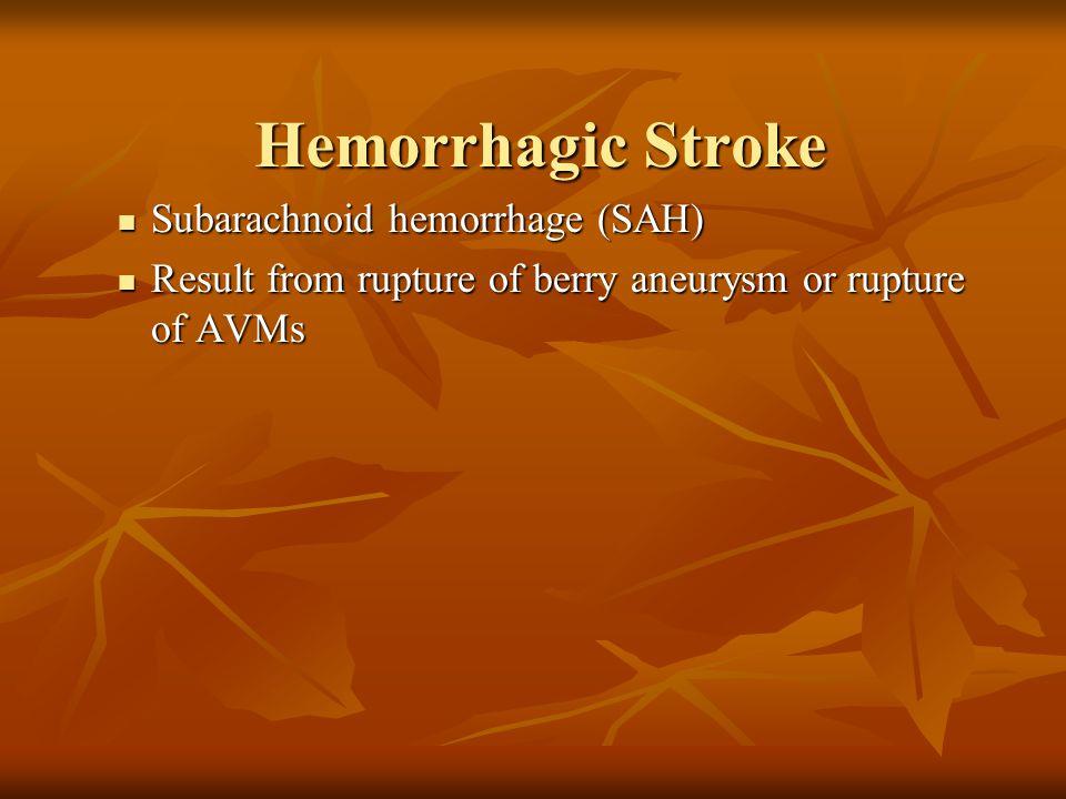 Hemorrhagic Stroke Subarachnoid hemorrhage (SAH)
