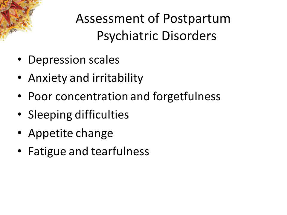Assessment of Postpartum Psychiatric Disorders