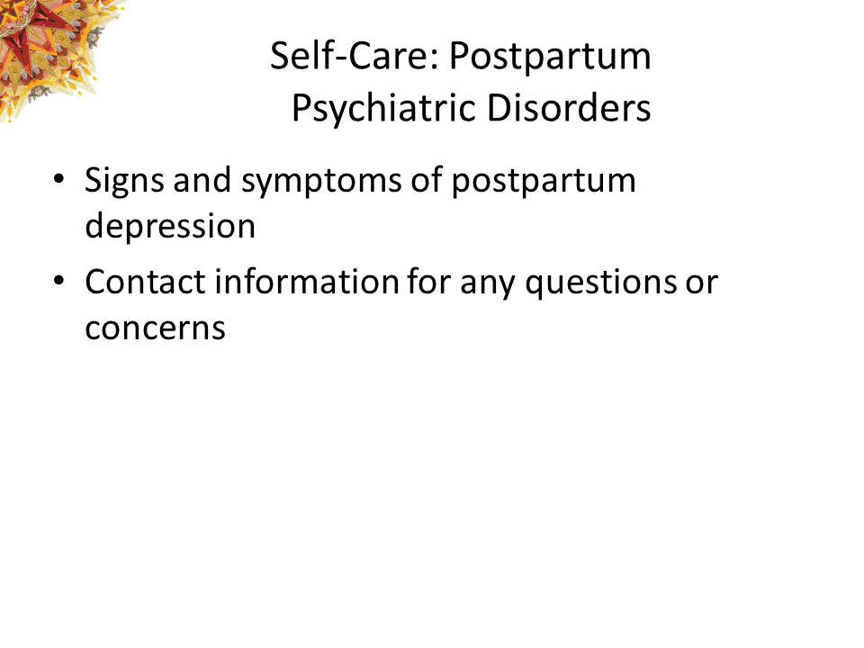 Self-Care: Postpartum Psychiatric Disorders