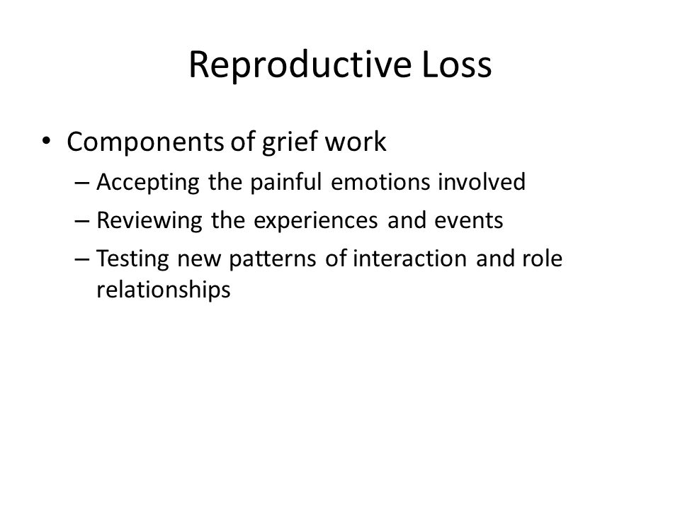 Reproductive Loss Components of grief work