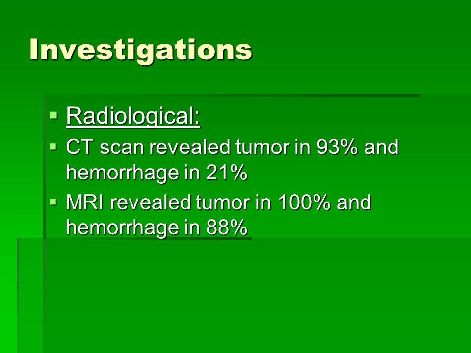 Investigations Radiological: