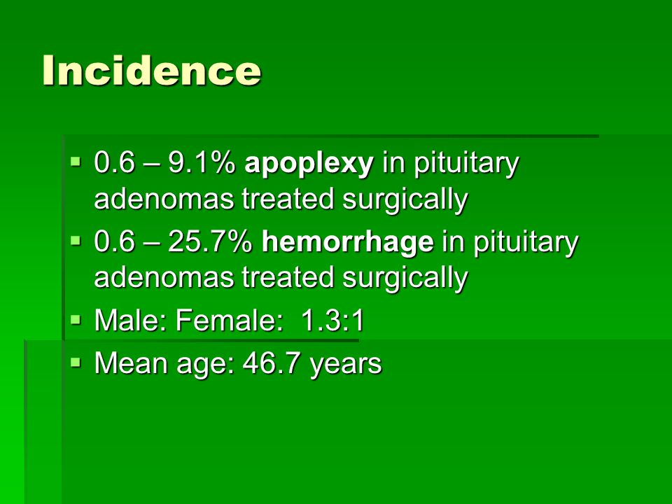 Incidence 0.6 – 9.1% apoplexy in pituitary adenomas treated surgically