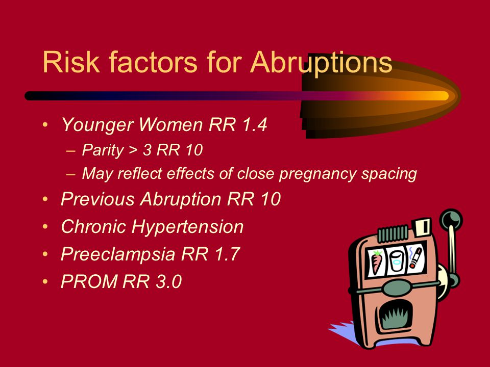Risk factors for Abruptions