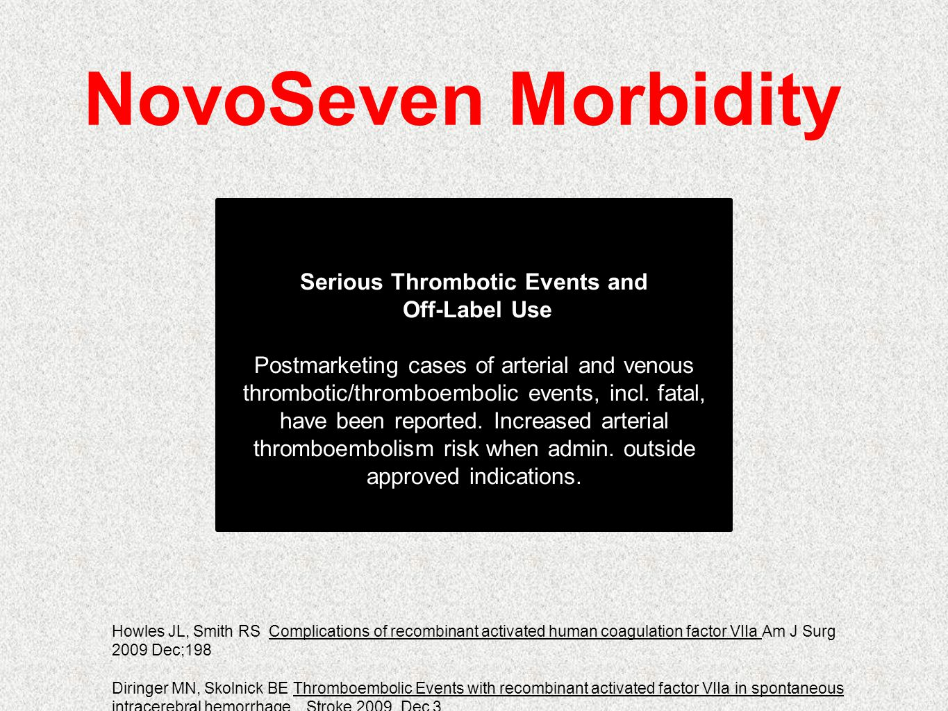 Serious Thrombotic Events and