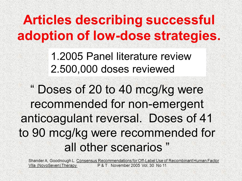 Articles describing successful adoption of low-dose strategies.