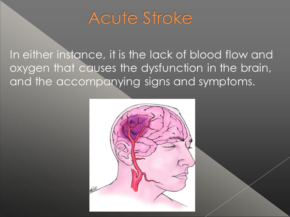 In either instance, it is the lack of blood flow and oxygen that causes the dysfunction in the brain, and the accompanying signs and symptoms.