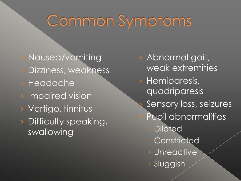 Difficulty speaking, swallowing Abnormal gait, weak extremities