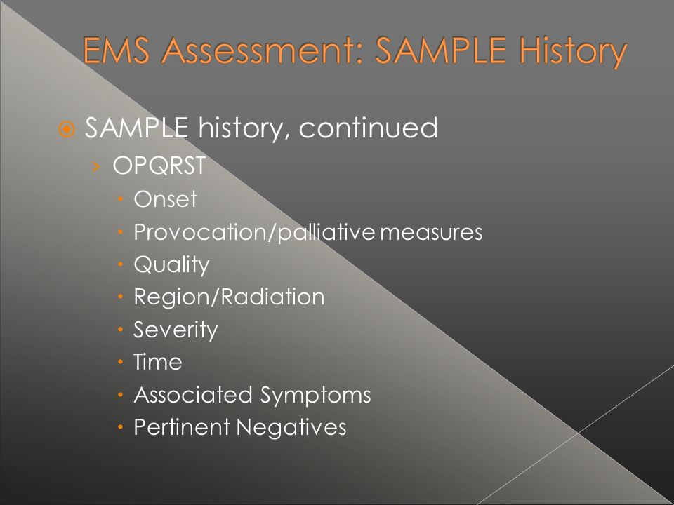 SAMPLE history, continued