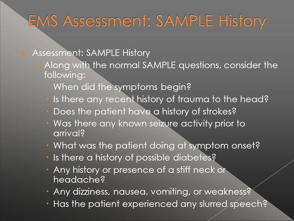 Assessment: SAMPLE History