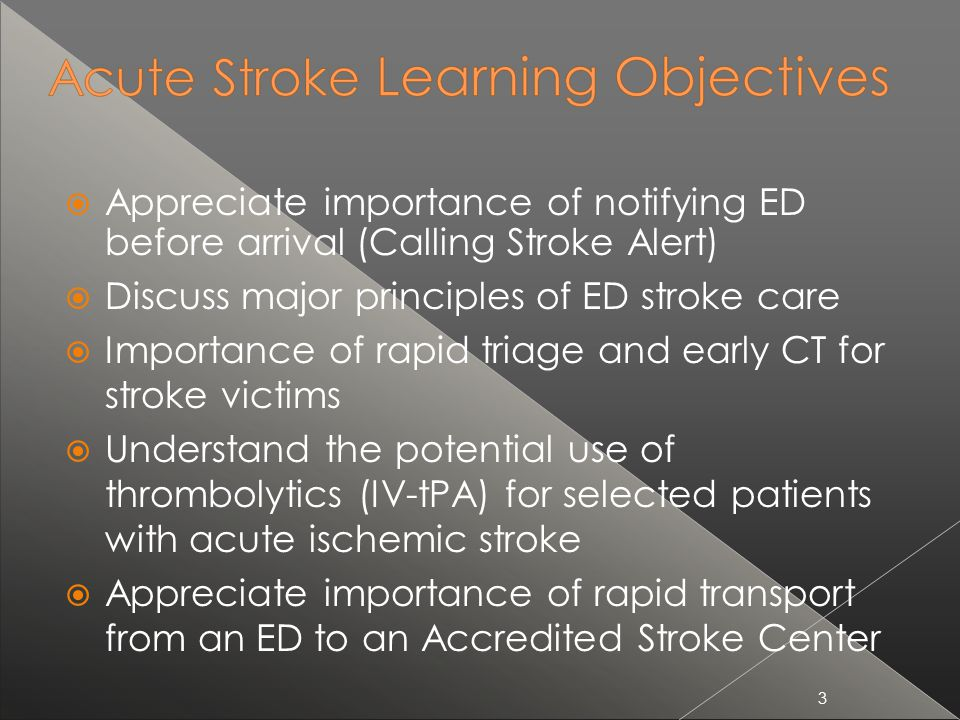Discuss major principles of ED stroke care