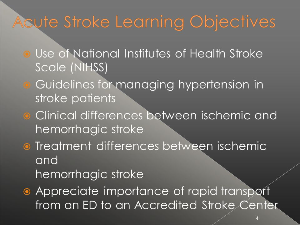 Use of National Institutes of Health Stroke Scale (NIHSS)