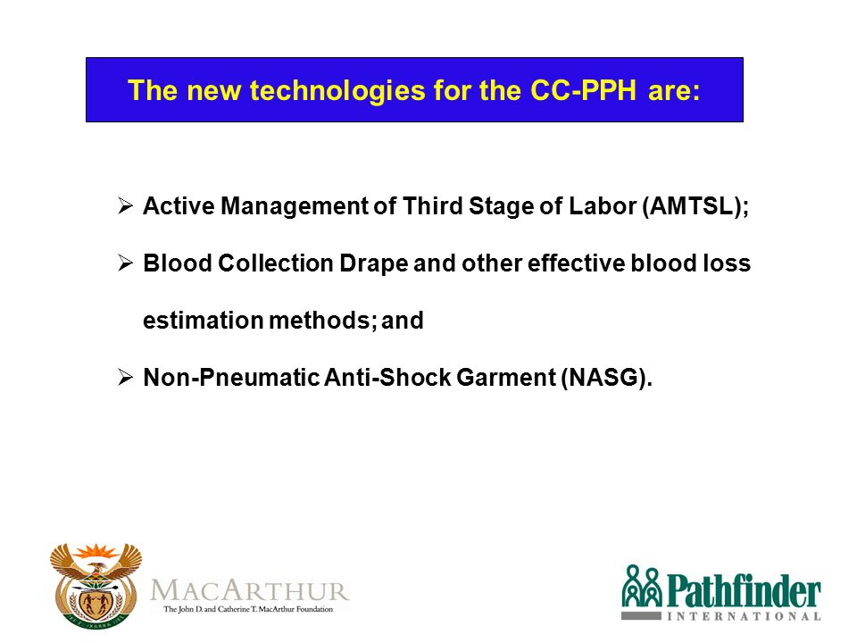 The new technologies for the CC-PPH are: