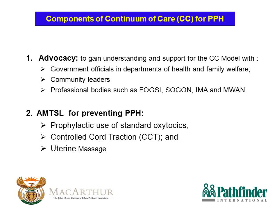Components of Continuum of Care (CC) for PPH