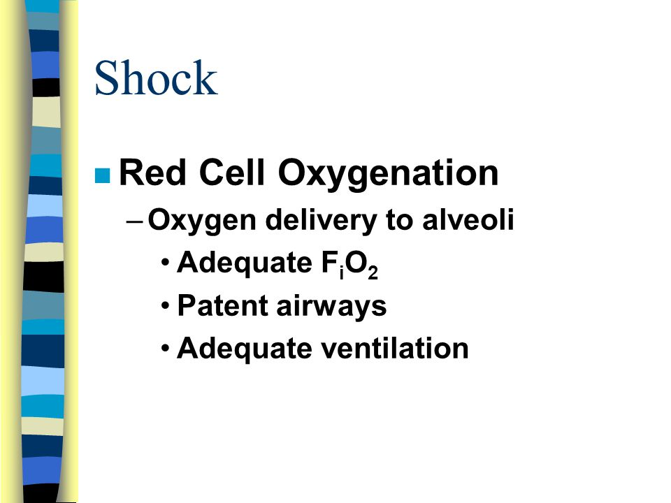 Shock Red Cell Oxygenation Oxygen delivery to alveoli Adequate FiO2