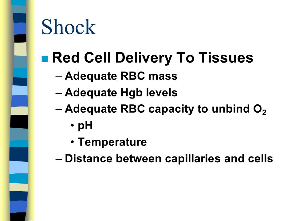 Shock Red Cell Delivery To Tissues Adequate RBC mass