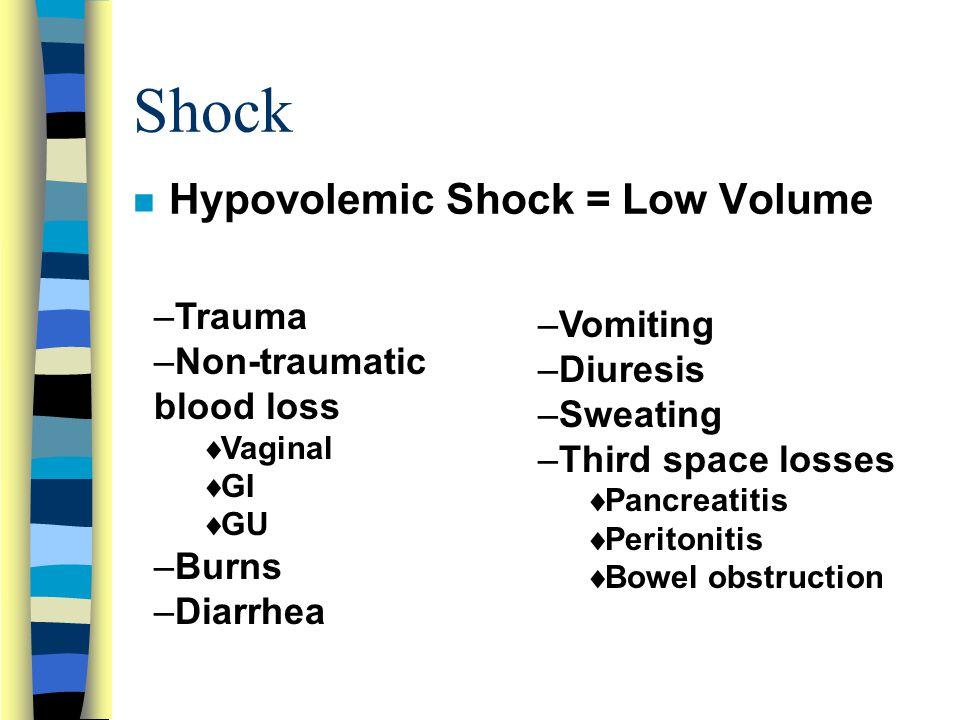 Shock Hypovolemic Shock = Low Volume Trauma Vomiting