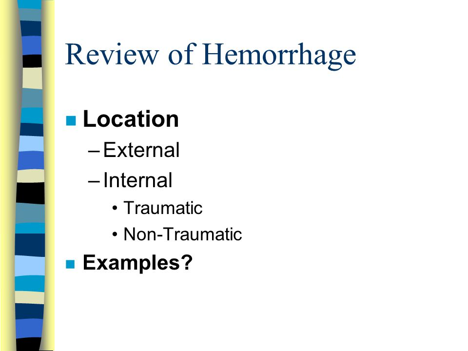 Review of Hemorrhage Location External Internal Examples Traumatic