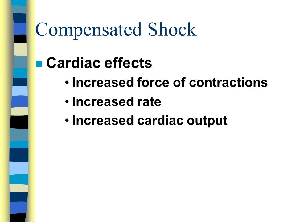 Compensated Shock Cardiac effects Increased force of contractions