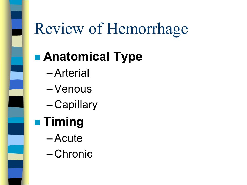Review of Hemorrhage Anatomical Type Timing Arterial Venous Capillary