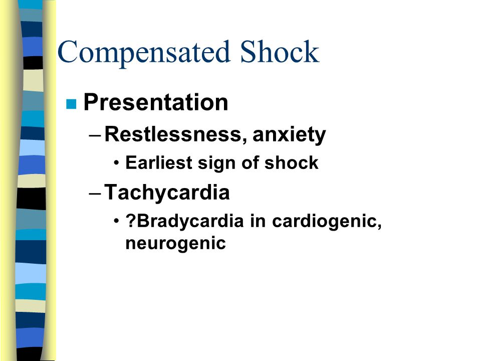 Compensated Shock Presentation Restlessness, anxiety Tachycardia