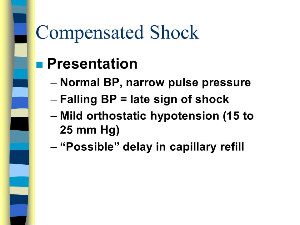 Compensated Shock Presentation Normal BP, narrow pulse pressure