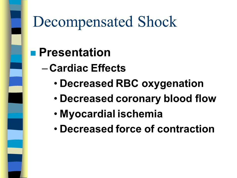 Decompensated Shock Presentation Cardiac Effects