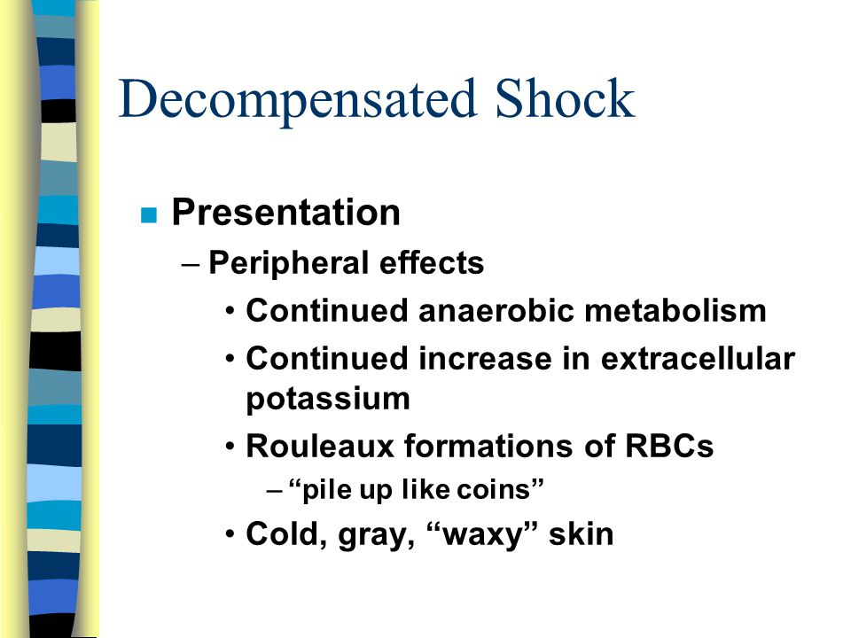 Decompensated Shock Presentation Peripheral effects