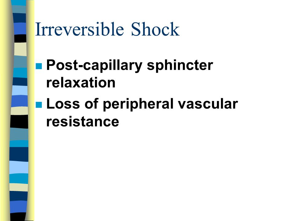 Irreversible Shock Post-capillary sphincter relaxation