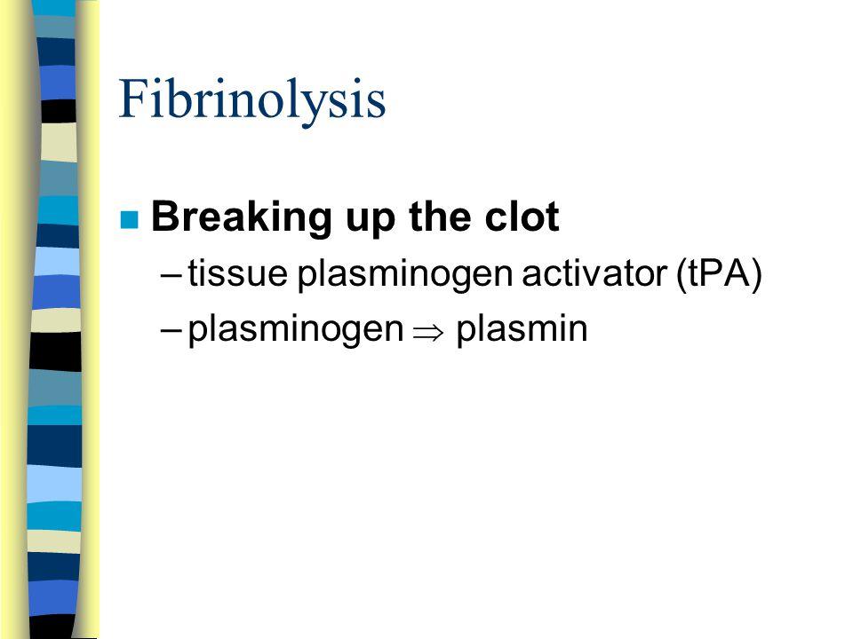 Fibrinolysis Breaking up the clot tissue plasminogen activator (tPA)