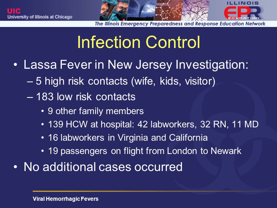 Infection Control Lassa Fever in New Jersey Investigation: